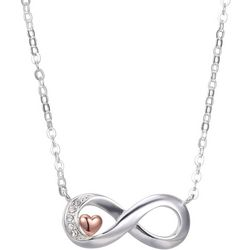 Shine Two Tone Heart Infinity Love Necklace