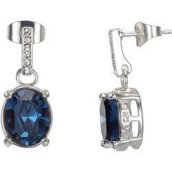 Shine Montana Blue Crystal Elements Post Dangle Earrings