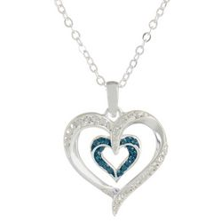 Shine Crystal Elements Double Heart Pendant Necklace