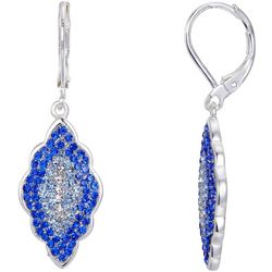 Shine Blue Crystal Elements Pave Earrings