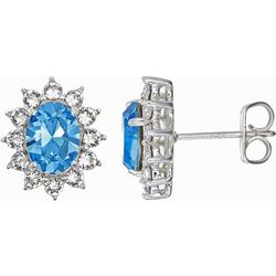 Shine Aqua Blue Crystal Elements Stud Earrings