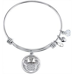 Disney Minnie Mouse Pave Rhinestone Charm Bangle Bracelet