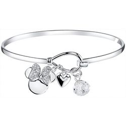 Disney Minnie Mouse & Heart Charm Bangle Bracelet