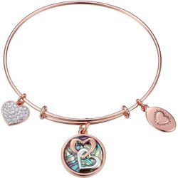 Footnotes Rose Gold Tone Sisters Heart Charm Bangle Bracelet