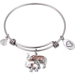Footnotes Elephant Family Two Tone Charm Bangle Bracelet