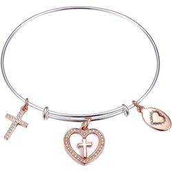 Footnotes Two Tone Faith & Love Charm Bangle Bracelet