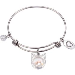 Footnotes Silver Tone Meow Shaker Charm Bangle Bracelet