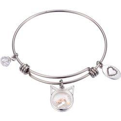 Footnotes Silver Tone Meow Shaker Charm Bangle Bracelet