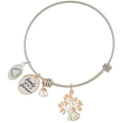 Footnotes Two Tone Family Is Forever Charm Bangle Bracelet