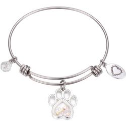 Footnotes Silver Tone Paw Shaker Charm Bangle Bracelet
