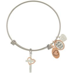 Footnotes Two Tone Cross Faith Hope Love Bangle Bracelet