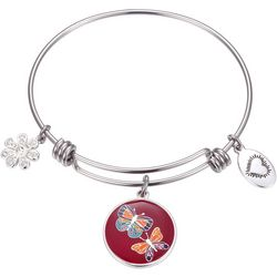 Footnotes Friends We Meet Butterfly Charm Bangle Bracelet