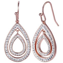 Shine Rose Gold Tone Crystal Elements Teardrop Earrings