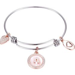 Footnotes Two Tone MOP Initial A Charm Bangle