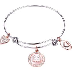 Footnotes Two Tone MOP Initial M Charm Bangle