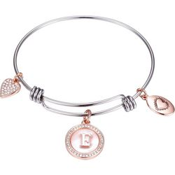 Footnotes Two Tone MOP Initial E Charm Bangle