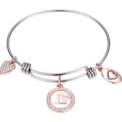 Footnotes Two Tone MOP Initial L Charm Bangle