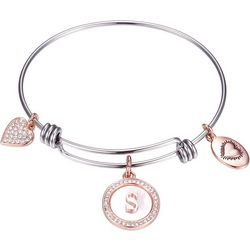 Footnotes Two Tone MOP Initial S Charm Bangle