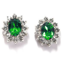 Shine Green Crystal Elements Stud Earrings