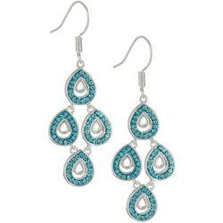 Shine Aqua Blue Crystal Elements Teardrop Kite Earrings