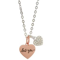 Shine Love You Double Heart Charm Necklace