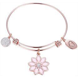 Footnotes Rose Pink Wildflower Charm Bangle Bracel