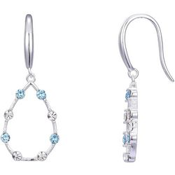 Shine Aqua Blue & Clear Crystal Elements Teardrop Earrings