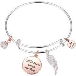 She Rocks With Brave Wings She Flies Bangle Bracelet