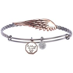 She Rocks Angel Wing She Believed Charm Bangle Bracelet