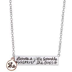 She Rocks Leaves A Little Sparkle Bar Pendant Necklace