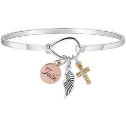 Gratitude & Grace Tri Tone Faith Charm Bangle