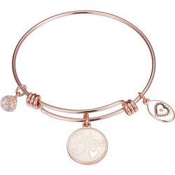 Footnotes Rose Gold Tone Believe Charm Bangle Bracelet