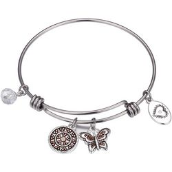 Footnotes Granddaughter Love Butterfly Charm Bangle Bracelet