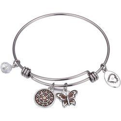 Footnotes Granddaughter Love Butterfly Charm Bangle Bracelet