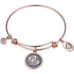 Footnotes Mother Daughter Heart Charm Bangle Bracelet
