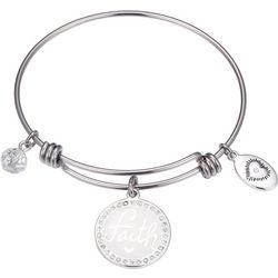 Footnotes Faith Rhinestone Disc Charm Bangle Bracelet