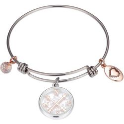 Footnotes Two Tone Compass Charm Bangle Bracelet