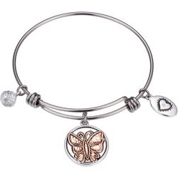 Footnotes Two Tone Sister Friend Charm Bangle Bracelet