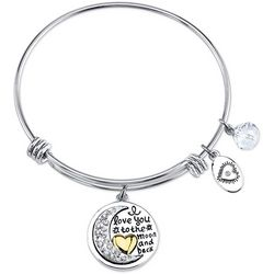 Footnotes Love You To The Moon Charm Bangle Bracelet