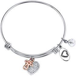 Footnotes Faith Hope Love Charm Bangle Bracelet