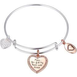 Footnotes Mom You Fill My Heart Charm Bangle Bracelet
