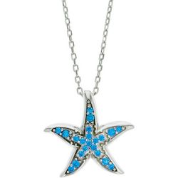Nautical by Nature Aqua Blue Starfish Pendant Necklace