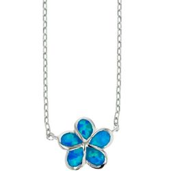 Nautical by Nature Faux Blue Opal Flower Necklace
