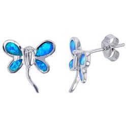 Nautical by Nature Faux Blue Opal Dragonfly Earrings