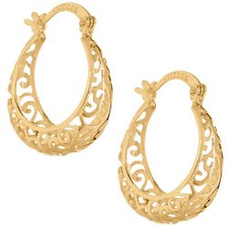 Starfish Box Gold Tone Filigree Hoop Earrings