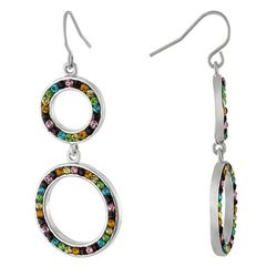 Piper & Taylor Rainbow Pave Double Ring Drop Earrings