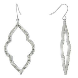Piper & Taylor Pave Crystal Open Tile Shaped Earrings