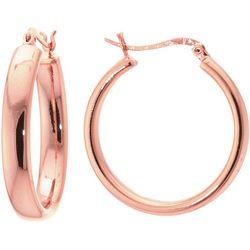 Starfish Box Polished Rose Gold Tone Hoop Earrings