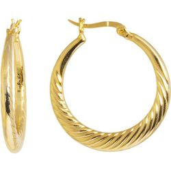 Starfish Box Textured Gold Tone Hoop Earrings
