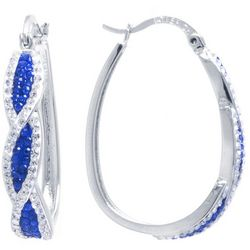 Sea Life Box Blue & Clear Rhinestone Hoop Earrings